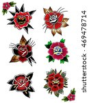 traditional tattoo flowers set... | Shutterstock .eps vector #469478714