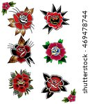 traditional tattoo flowers set... | Shutterstock .eps vector #469478744
