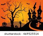 halloween scene with tree and... | Shutterstock .eps vector #469525514