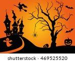 halloween scene with tree and...   Shutterstock .eps vector #469525520