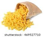 Uncooked Fusilli Pasta In Sack