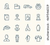funeral line icons | Shutterstock .eps vector #469546019
