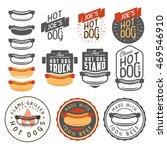 set of vintage hot dog labels ... | Shutterstock . vector #469546910
