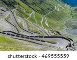 Aerial view on famous road in mountains Alps Passo Stelvio - stock photo