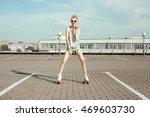 teenage girl wearing roller... | Shutterstock . vector #469603730