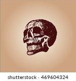 vector sketch of skull | Shutterstock .eps vector #469604324