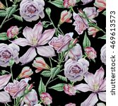 seamless pattern with flowers....   Shutterstock . vector #469613573