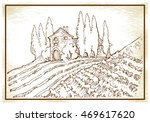 hand drawn landscape with trees ... | Shutterstock .eps vector #469617620