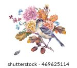 vintage watercolor bird with... | Shutterstock . vector #469625114