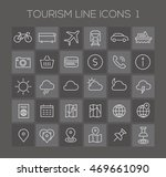 thin line tourism icons on dark ... | Shutterstock .eps vector #469661090