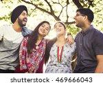indian friends hangout park... | Shutterstock . vector #469666043