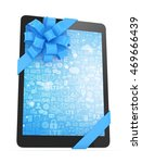 black tablet with blue bow and... | Shutterstock . vector #469666439