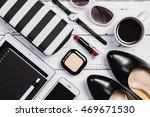 overhead view of essential... | Shutterstock . vector #469671530