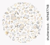 hand drawn doodle autumn icons... | Shutterstock .eps vector #469687748