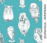 owls seamless pattern. vector... | Shutterstock .eps vector #469696364