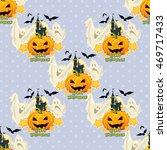 seamless halloween pattern with ...   Shutterstock .eps vector #469717433
