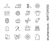 Stock vector thin lines fabric sewing tailor knitting vector icons set of accessories for handmade hobby 469729550