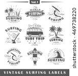 set of vintage surfing labels.... | Shutterstock . vector #469738220