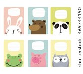 cute hand drawn cards ... | Shutterstock .eps vector #469744190