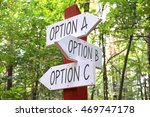 Small photo of Signpost with three arrows - option A, B, C.
