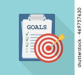 clipboard with goals and target.... | Shutterstock .eps vector #469757630