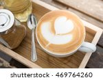 larte art coffee cups on wood... | Shutterstock . vector #469764260