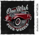 hand drawn retro car in the... | Shutterstock . vector #469768136