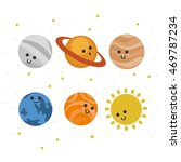 set of cute smiling planets.... | Shutterstock .eps vector #469787234