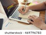 business man working at office... | Shutterstock . vector #469796783