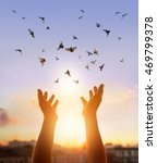 woman praying and free bird... | Shutterstock . vector #469799378