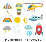 set of flat icons cartoon... | Shutterstock .eps vector #469804850