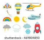 set of flat icons cartoon... | Shutterstock .eps vector #469804850