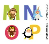 english alphabet with kids in... | Shutterstock .eps vector #469807610