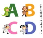 english alphabet with kids in... | Shutterstock .eps vector #469807628