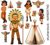 native american indian people...   Shutterstock .eps vector #469809740