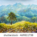 Colorful Mountains Oil Paintin...