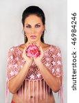 beautiful russian brunette...   Shutterstock . vector #46984246