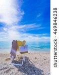 beach with deck chair  towel ... | Shutterstock . vector #469846238