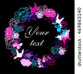 stylized bright flowers.... | Shutterstock .eps vector #469863140