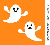 funny flying ghost. smiling and ... | Shutterstock .eps vector #469893479