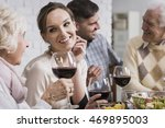 women are drinking wine at the... | Shutterstock . vector #469895003