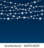 Vector Abstract Background Garland On A Blue Eps 10 Bright White Light Christmas Lights Isolated