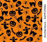 halloween seamless texture with ... | Shutterstock .eps vector #469919084