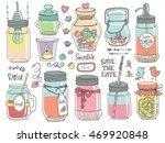 mason jars set.wedding romantic ... | Shutterstock .eps vector #469920848