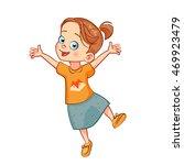 smiling jumping girl. vector... | Shutterstock .eps vector #469923479