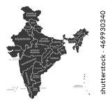 india map labelled black | Shutterstock .eps vector #469930340