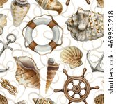 nautical seamless pattern with... | Shutterstock . vector #469935218