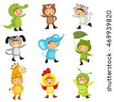 set of cute kids wearing animal ... | Shutterstock .eps vector #469939820