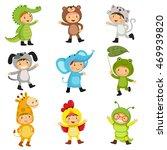 Set Of Cute Kids Wearing Anima...