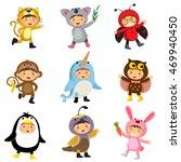 set of cute kids wearing animal ... | Shutterstock .eps vector #469940450